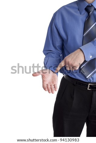 business man pointing at empty hand asking to get paid - stock photo