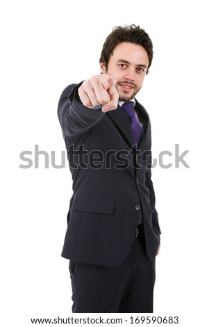 Business man pointing at something on a white background - stock photo