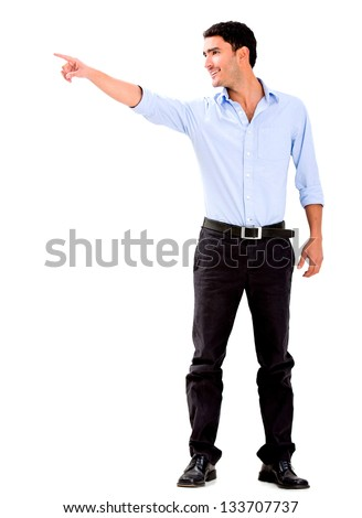 Business man pointing away - isolated over a white background - stock photo