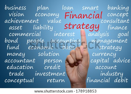 business man pointing financial strategy concept  - stock photo