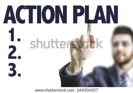 Business man pointing the text: Action Plan - stock photo