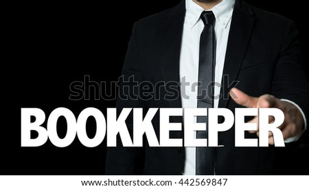 Business man pointing the text: Bookkeeper - stock photo