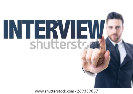 Business man pointing the text: Interview - stock photo