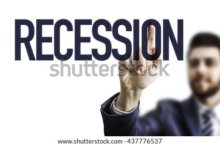 Business man pointing the word: Recession - stock photo