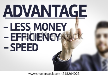 Business man pointing to transparent board with text: Description of Advantage - stock photo