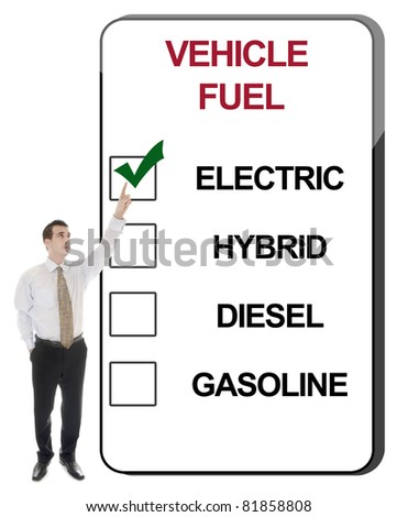 Business man pointing Vehicle Fuel - stock photo