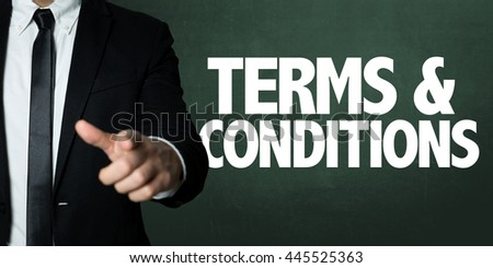 Business man pointing with the text: Terms & Conditions - stock photo