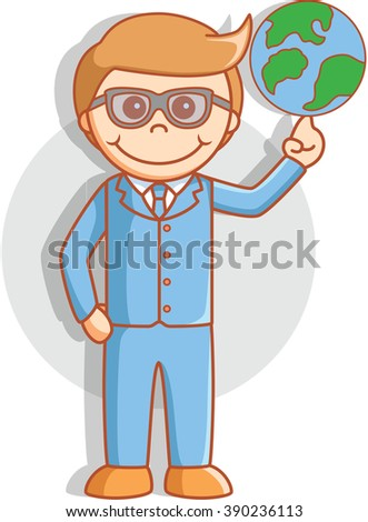 Business man pointing world - stock photo