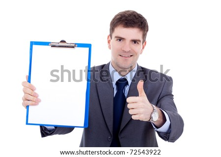 business man presenting a clipboard and giving the ok for it - stock photo