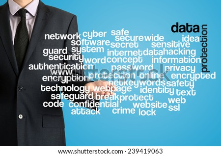 Business man presenting wordcloud related to data protection on virtual screen - stock photo