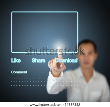 business man pressing  internet social network touchscreen - stock photo