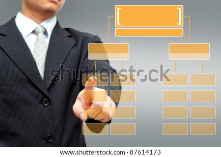 Business man pressing orange button Chart - stock photo