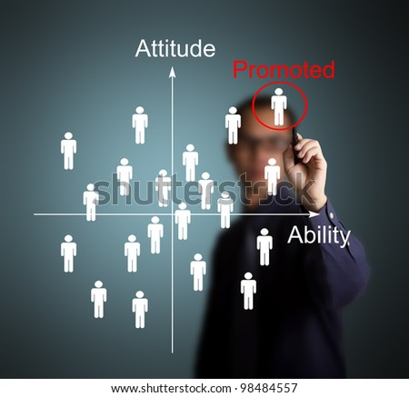 business man promote the best attitude and highest ability employee - stock photo