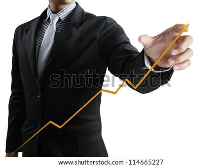Business man pushing graph - stock photo