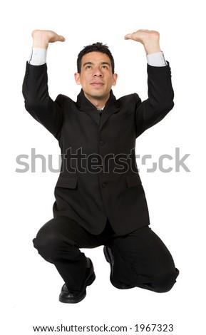 business man pushing something up over white - stock photo
