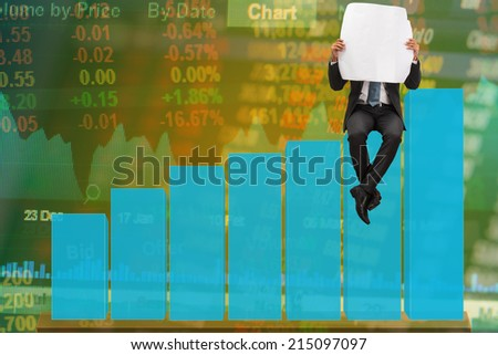 business man reading newspaper on bar graph and stock market board background - stock photo
