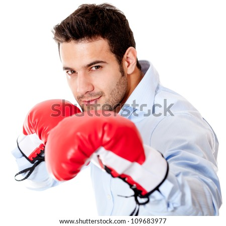 Business man ready to fight with boxing gloves - isolated over white background - stock photo