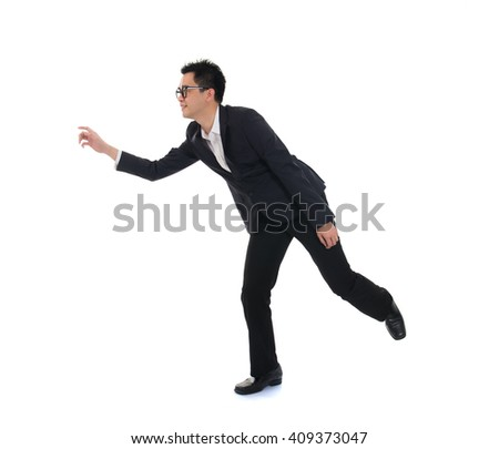business man running on isolated white background, full length, asian model - stock photo
