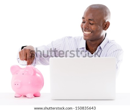 Business man saving money online - isolated over white - stock photo