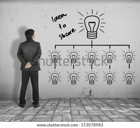 Business man see concept picture of  idea to share  on  White Brick floor and Concrete wall - stock photo