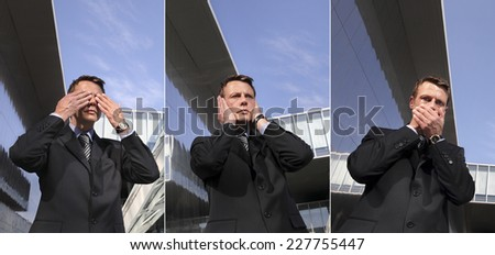business man see no evil, hear no evil, speak no evil, three monkeys concept - stock photo