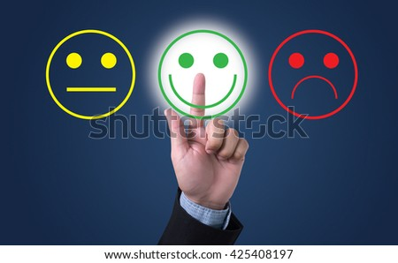 business man select happy on satisfaction evaluation? - stock photo