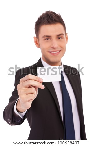 business man show card and smile on white background - stock photo