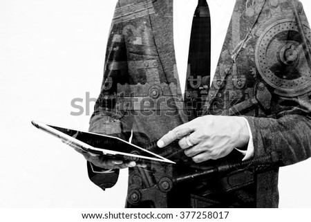business man show hand double exposure with industrial machine in black and white filter - stock photo