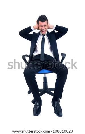 Business man show stop sign - stock photo