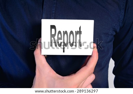 Business man showing card with report - stock photo