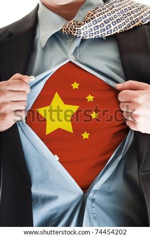 Business man showing China flag shirt - stock photo