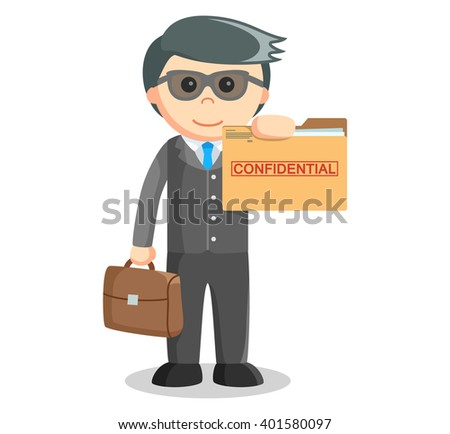 Business man showing confidential folder - stock photo