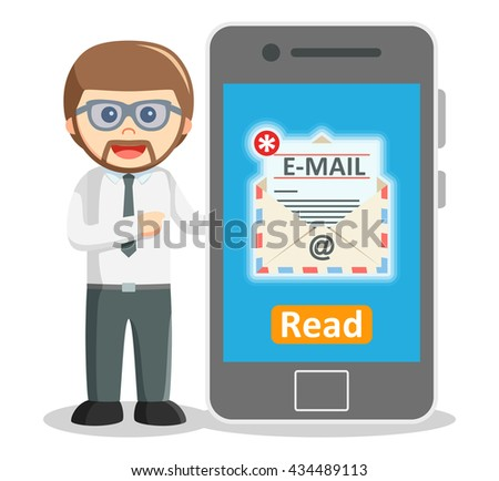 Business man showing email notification from smartphone - stock photo
