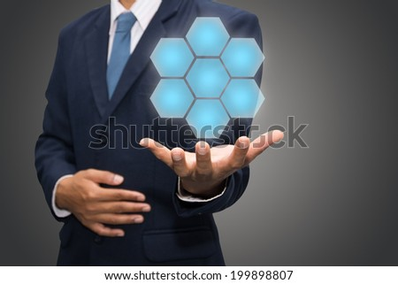 Business man showing empty diagram  - stock photo