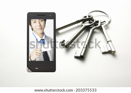 Business Man Showing His Id In Mobile Screen - stock photo
