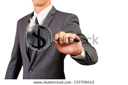 business man showing magnify glass with dollar sign inside ,isolated white background - stock photo