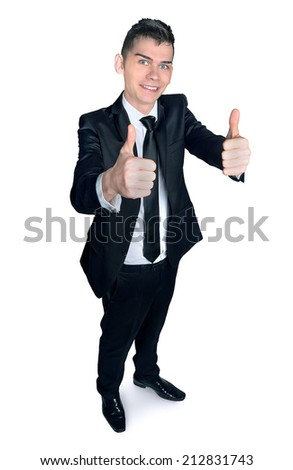 Business man showing ok sign - stock photo