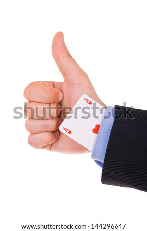 Business man showing ok sign with ace card under sleeve. - stock photo