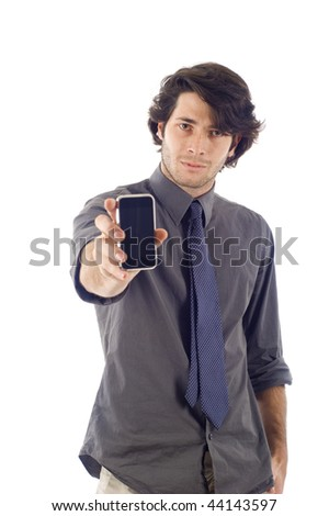 business man showng his smartphone pda isolated over a white background - stock photo