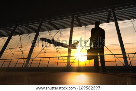 Business man silhouette in the airport rendered by computer graphic 3D. - stock photo