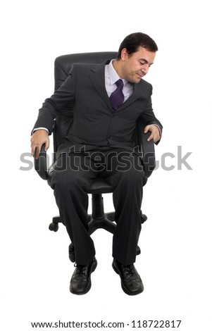 business man sitting on a chair over white background - stock photo