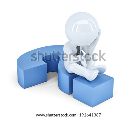 Business man sitting on a question mark. Business concept. Isolated.  - stock photo