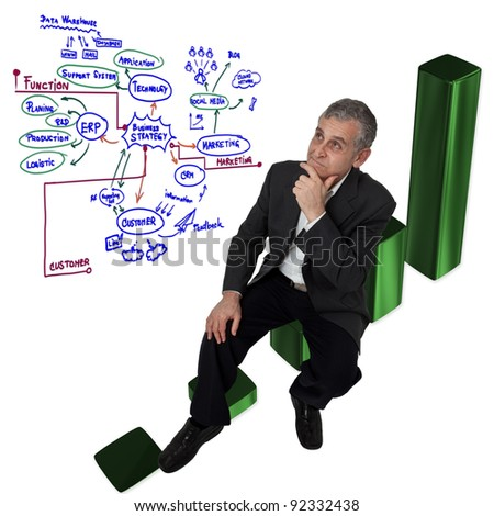 Business man sitting on growth pie graph and thinking for big business idea - stock photo
