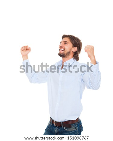 business man smile hold fist ok yes gesture, successful excited happy young businessman raised hands arms looking side up to empty copy space, wear blue shirt isolated over white background - stock photo