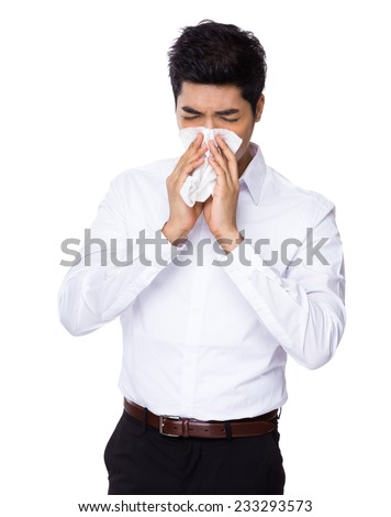 Business man sneeze - stock photo