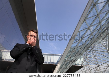 business man, speak no evil, three monkeys concept - stock photo