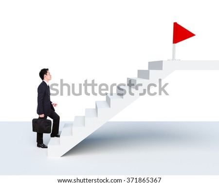 Business man stepping up on stairs to red flag (business success concept) isolated on white background - stock photo
