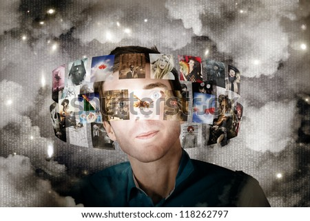 Business Man Streaming Digital Television And Online Media Through Cloud Server Technology With Innovative And Futuristic Informatics - stock photo