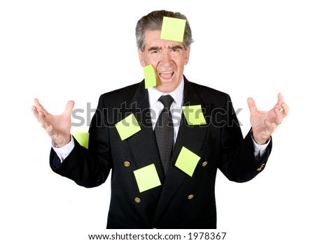 business man stressed out because he has too many things to do - over white - stock photo