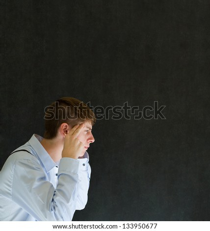 Business man, student or teacher think or thinking hard with copy space - stock photo